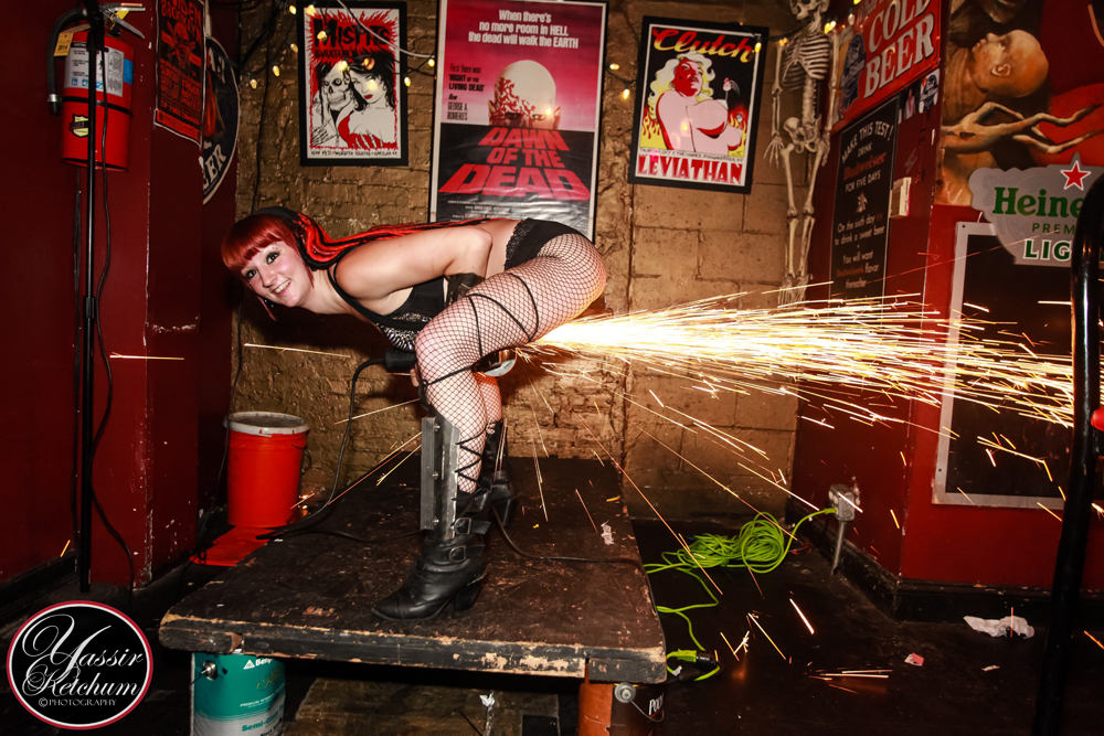 Massachusetts Bachelorette Party Grinder Girl Connecticut Angle Grinder Performer Rhode Island Grinder Sparks Dancer New Hampshire Power Grinder Girl Show