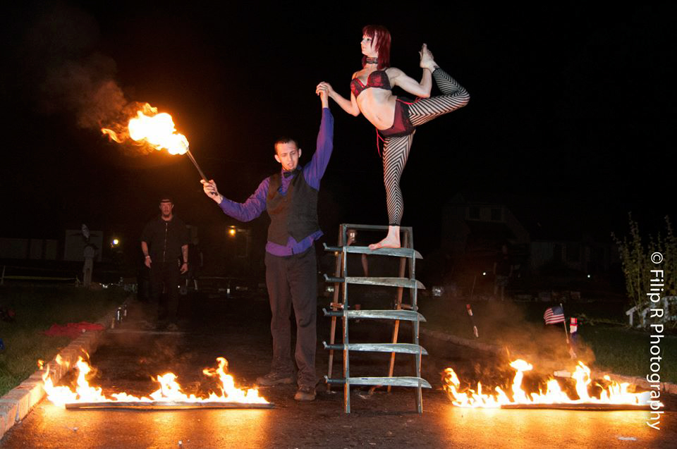 Massachusetts Engagement Party Sideshow Performer Connecticut FreakShow Act Rhode Island Glass Walking New Hampshire Bed Of Nails Blockhead Machete Ladder Sword Ladder