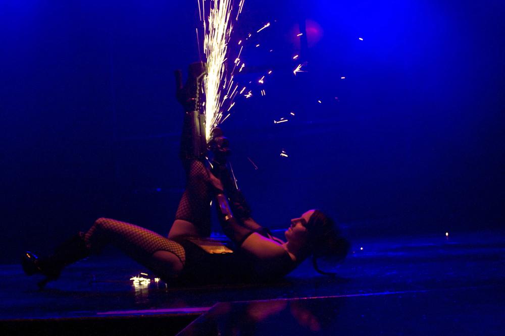 Massachusetts Cocktail Party Grinder Girl Connecticut Angle Grinder Performer Rhode Island Grinder Sparks Dancer New Hampshire Power Grinder Girl Show